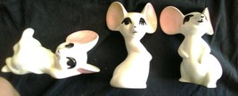 3 Vintage Ceramic White Mice - $2.07