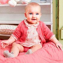 Mayoral Baby Girl 0M-12M Fancy Edge Knit Bolero Cardigan Sweater image 4