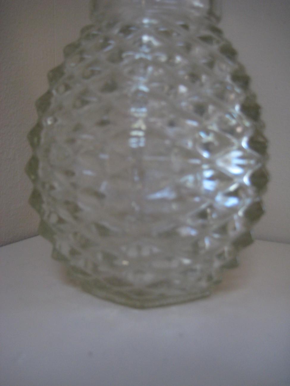 VINTAGE PRESSED DIAMOND POINT GLASS PINEAPPLE VASE - DATED 1980