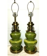 Pair Vintage Stiffel Green Ceramic Spatter Mid-century Table Lamps Elect... - $466.22