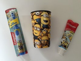 Minions Toothpaste Bundle Kevin Bob Stuart Powered Toothbrush Childrens Cup D... - $21.77