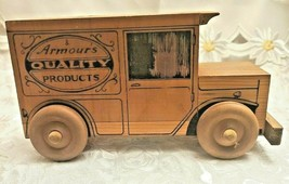 Vintage Wooden Toy Truck Bank Armour's Quality Products