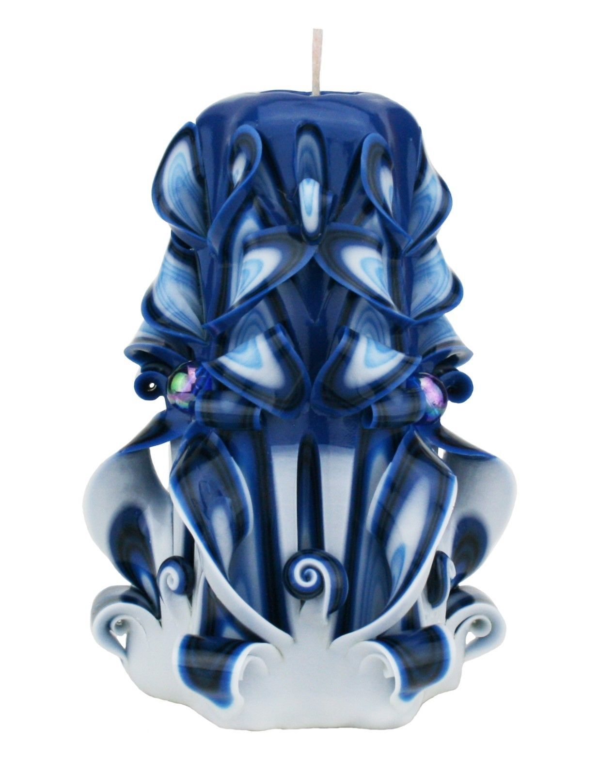 Carved Candles Blue Black White Paraffin Wax Unscented Free shipping