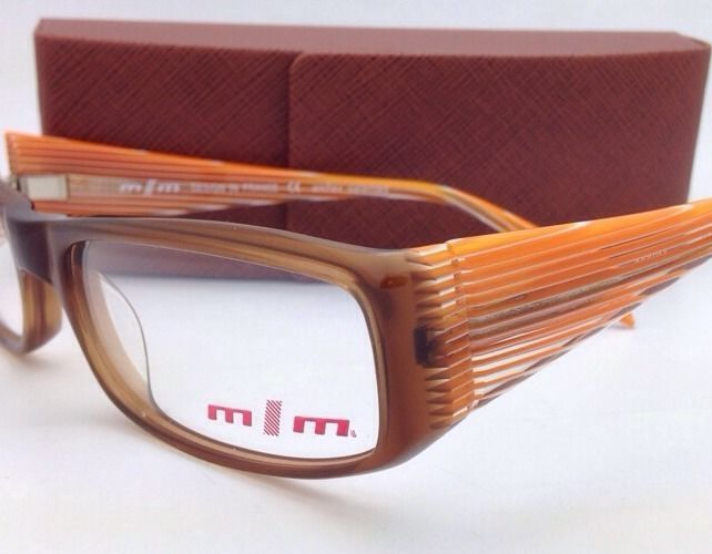 New Mikli Eyeglasses M0863 21 56-17 135 Brown Frame w/Orange/White/Clear Temples