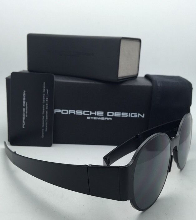 Folding PORSCHE DESIGN Titanium Sunglasses P'8592 B Matte Black Frames Grey Lens
