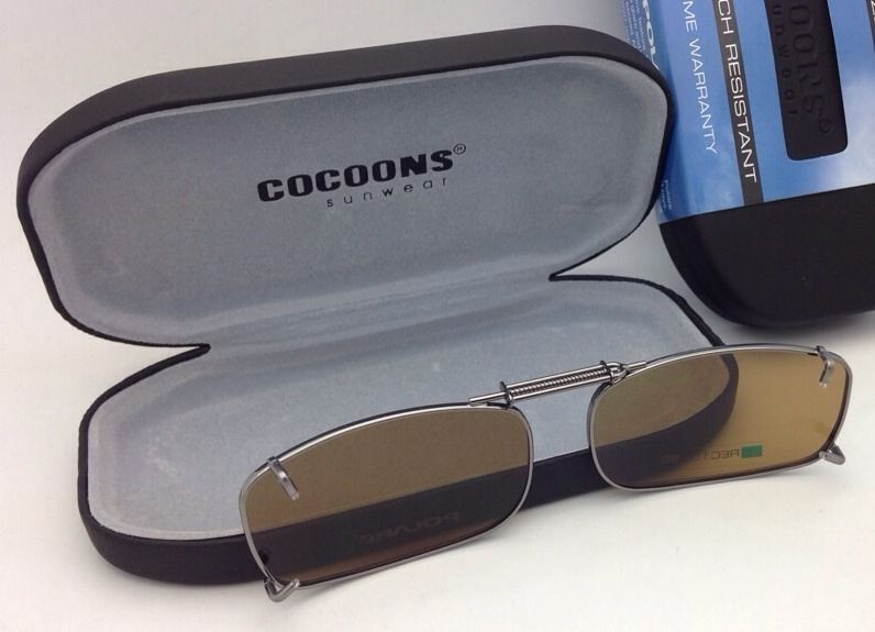 COCOONS Amber Polarized Sunglasses/Eyeglasses Over Rx Clip-on REC 15-50 Gunmetal