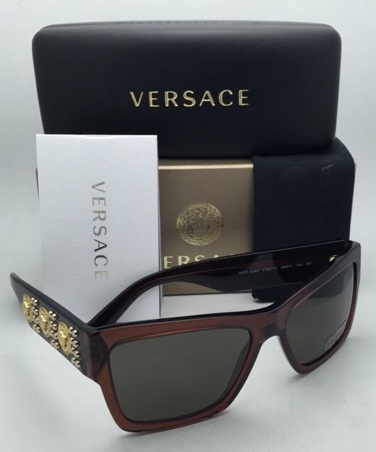 New VERSACE Sunglasses VE 4289 5130/73 Transparent Brown & Gold Frames w/ Brown
