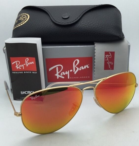Ray-Ban Sunglasses RB 3025 Large Metal 112/69 62-14 Gold Frame w/ Orange Mirror