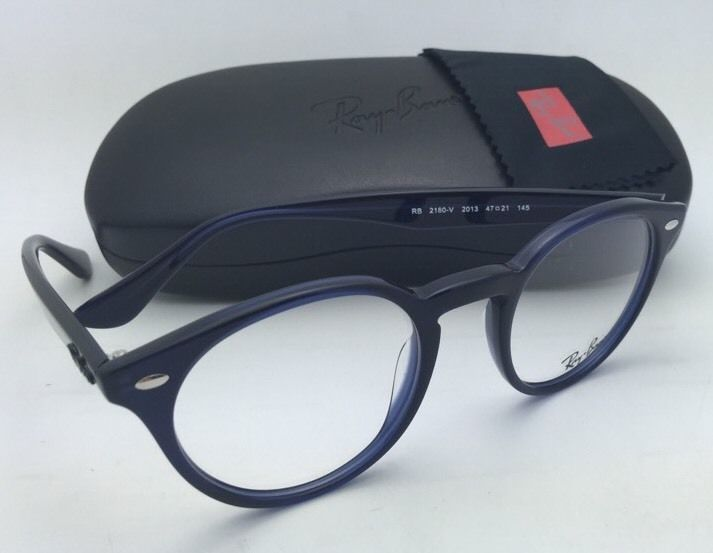 New RAY-BAN Rx-able Eyeglasses/Frame RB 2180-V 2013 47-21 Transparent Blue /Demo