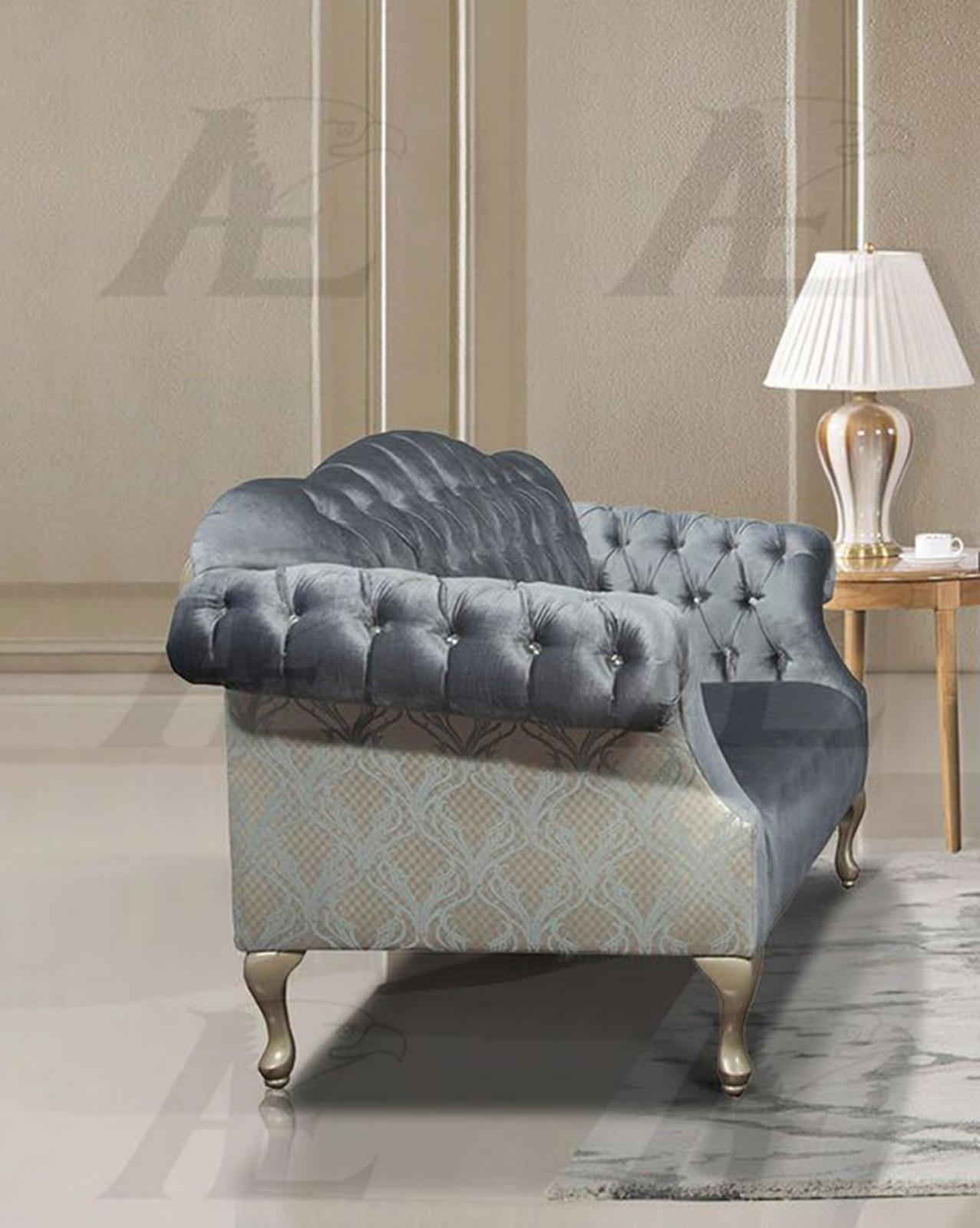 American eagle ae2603 lb light blue tufted sofa and for Tufted couch set