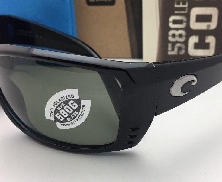 Polarized COSTA Sunglasses CAT CAY AT 11 Black Frame w/ 580 Grey lenses