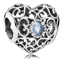 925 Sterling Silver March Signature Heart Birthstone Charm Bead QJCB773 - $18.99