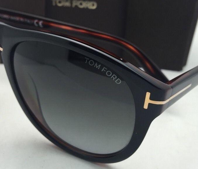 73fb19003510c New TOM FORD Sunglasses KURT TF 347 01V 56-18 Black on Havana Frame w