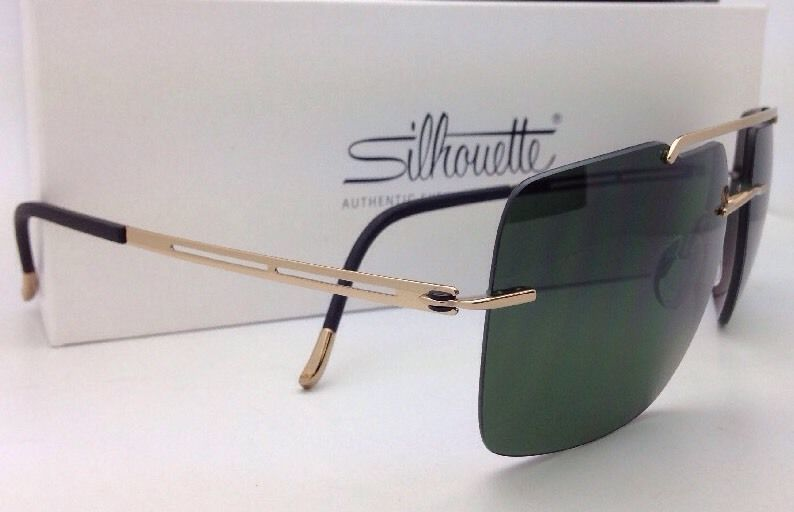 7fab84800e0 Titanium SILHOUETTE Sunglasses 8674 6202 Gold-Black Frame   Green Polarized  Lens