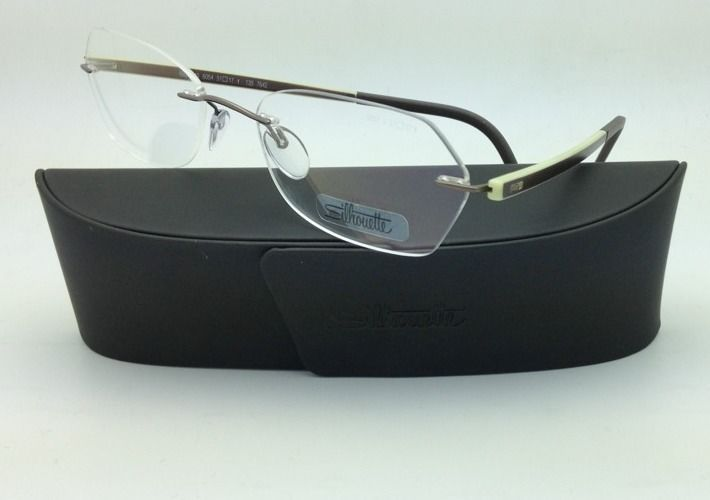 New SILHOUETTE Eyeglasses ZENLIGHT 6691 6054 51-17 Brown & White w/ Clear lenses