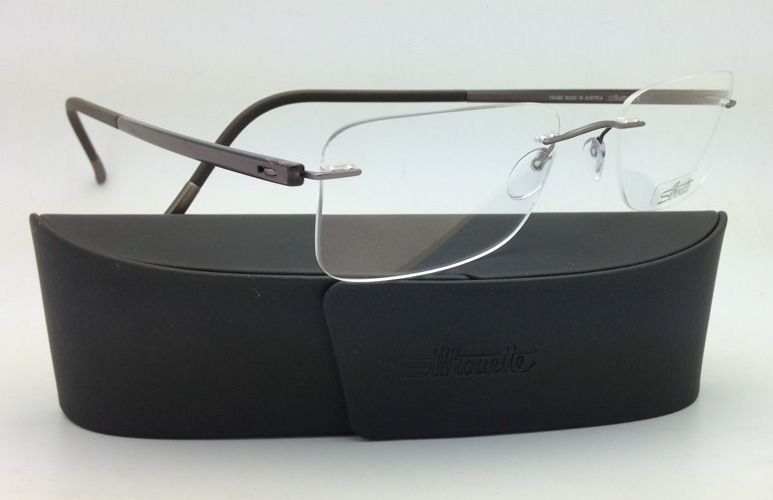 New SILHOUETTE Eyeglasses ZENLIGHT 7638 6056 53-21 Brown w/ Clear Demo lenses