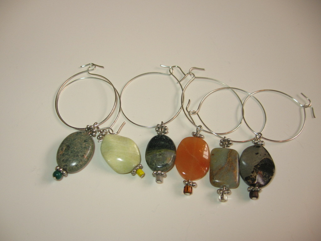 unique gemstone handcrafted wine glass charms wine glass