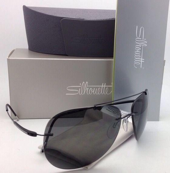 c3aedc5e8ba Polarized SILHOUETTE Rimless Titanium Sunglasses 8667 50 6200 Black w  Grey  lens