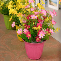 Artificial Silk Flower Resin Vase Pot Plant Set... - $10.49