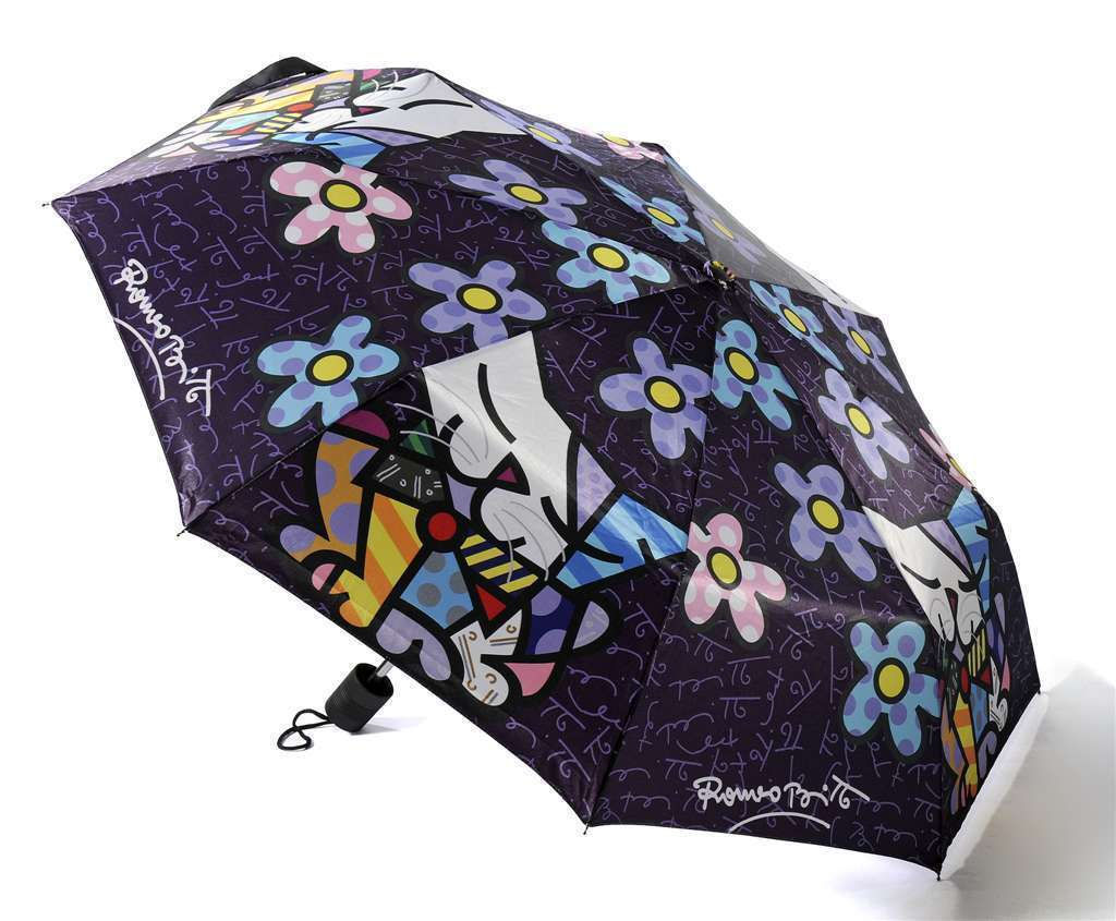 Romero Britto Polyester Compact Umbrella Cats /Flowers Design #330008
