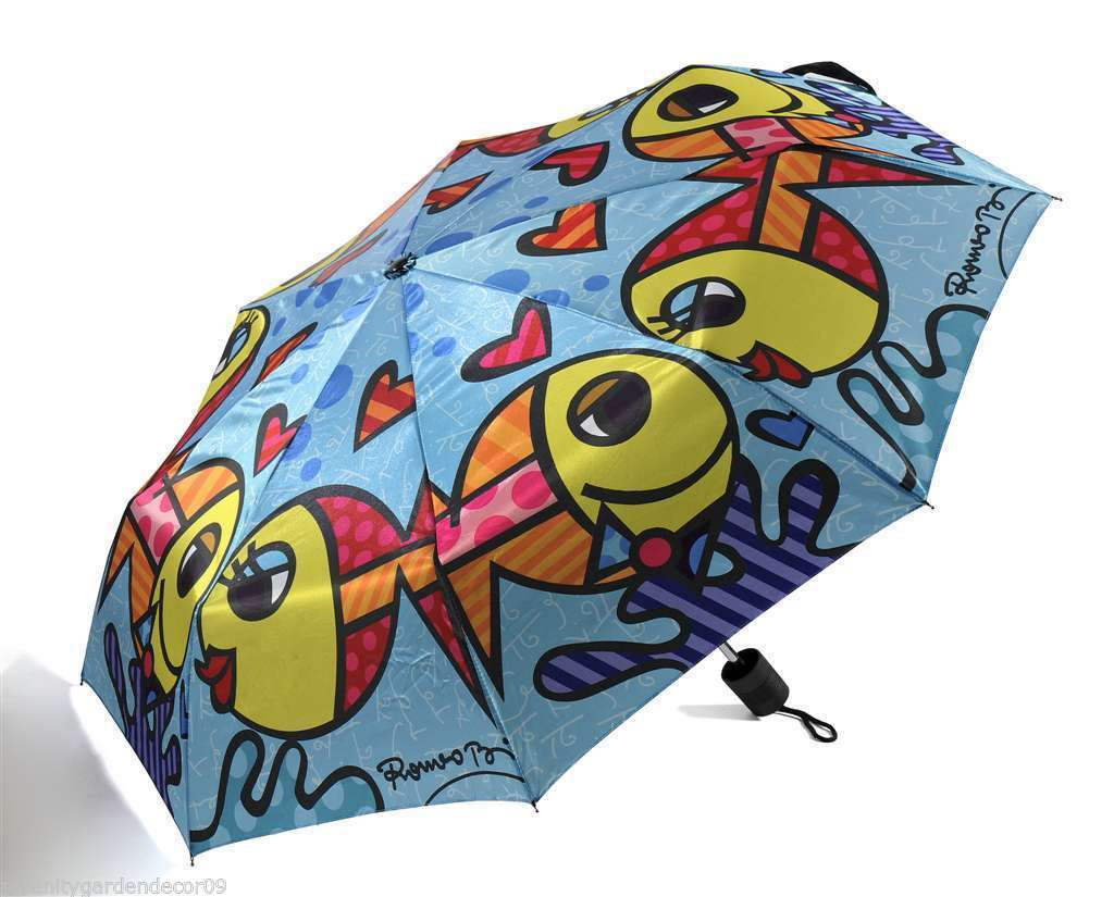 Romero Britto Polyester Compact Umbrella Deeply In Love Design #330007