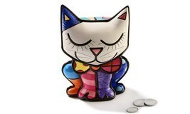 Romero Britto Polyresin Cat Bank NEW #334128 - $59.39