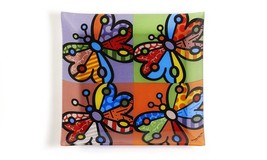 "Romero Britto 12"" Square Painted Glass Plate Butterfly Design"