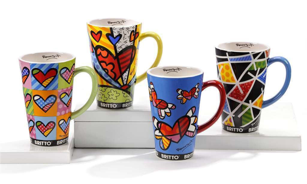 Romero Britto Set of 4 Mugs Hearts & Pattern Designs - 14oz  #333314