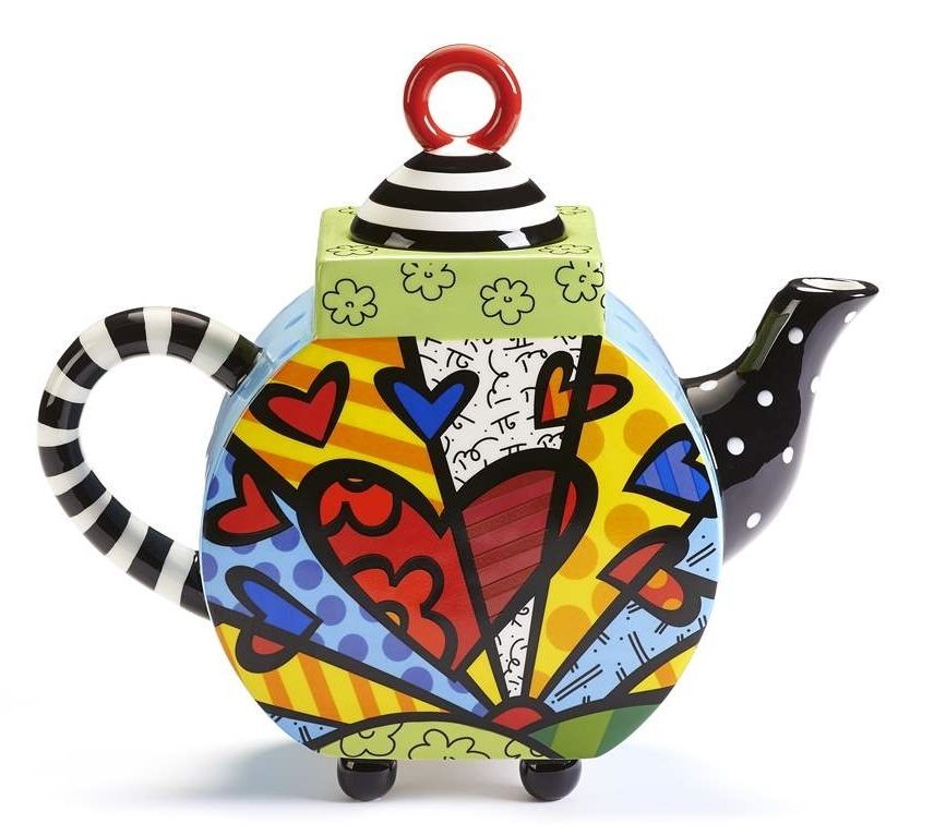 "Romero Britto  ""A New Day"" Teapot  XLarge 63 oz Size #334015  NEW"