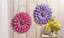 Set of 2 Iron Pastel Colored Layered Flower Design Wall Decor Pink Purple