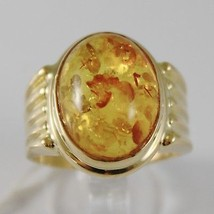 SOLID 18K YELLOW GOLD BAND RING WITH CABOCHON OVAL AMBER MADE IN ITALY