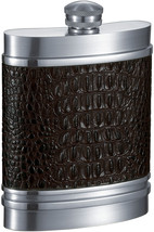 Visol Jared Handcrafted in USA Brown Leather 6oz Pewter Flask - $113.85