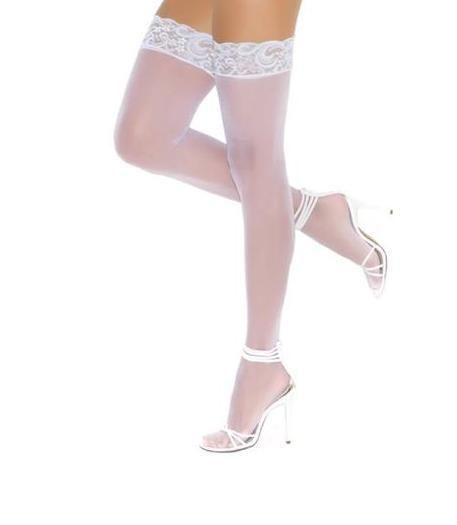 Sheer Thigh Hi High with Baby Light Blue Lace Top Bridal Hosiery Nylons 1791