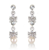 Bridal Crystals & Pearls Chic Earrings Wedding Earrings Cubic Zirconia E... - $47.97