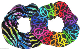 Rainbow Zebra Peace Signs Hair Scrunchies by Sherry Ponytail Holder Lot ... - $13.95