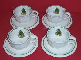 4 Pfaltzgraff CHRISTMAS HERITAGE Flat Cups & Saucers - $22.00