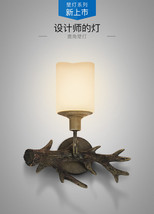 Vintage Antler Sconce Glass Light Wall Lamp Home Lighting Fixture Restor... - $53.96+