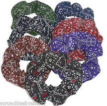 Bandana Hair Scrunchies by Sherry Ponytail Holders Dark Colors Lot of 7 New - $44.95