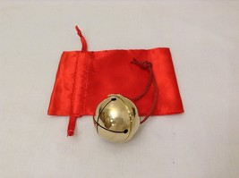 Large Golden Brass Believer Polar Reindeer Express Sleigh Bell with Real Leat...