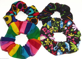 4 Rainbow Floral Love Peace Hair Scrunchie Scrunchies by Sherry Ponytail Holder  - $26.95