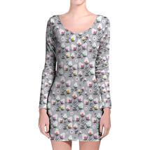 Subtle Flowers on Grey Longsleeve Bodycon Dress - $36.99+