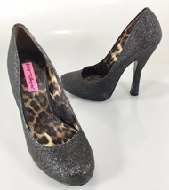 "Betsey Johnson Womens 6.5 Tastty-G Black Glitter 5"" Stiletto Pumps Shoes... - $73.01"