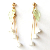 Lily of The Valley Green Leaf Flower Lovely Sweet Elegant Drop Dangle Ea... - $8.99