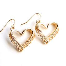 Heart Lace Ribbon Elegant Lovely Simple Drop Dangle Earrings Valentine's... - $7.99