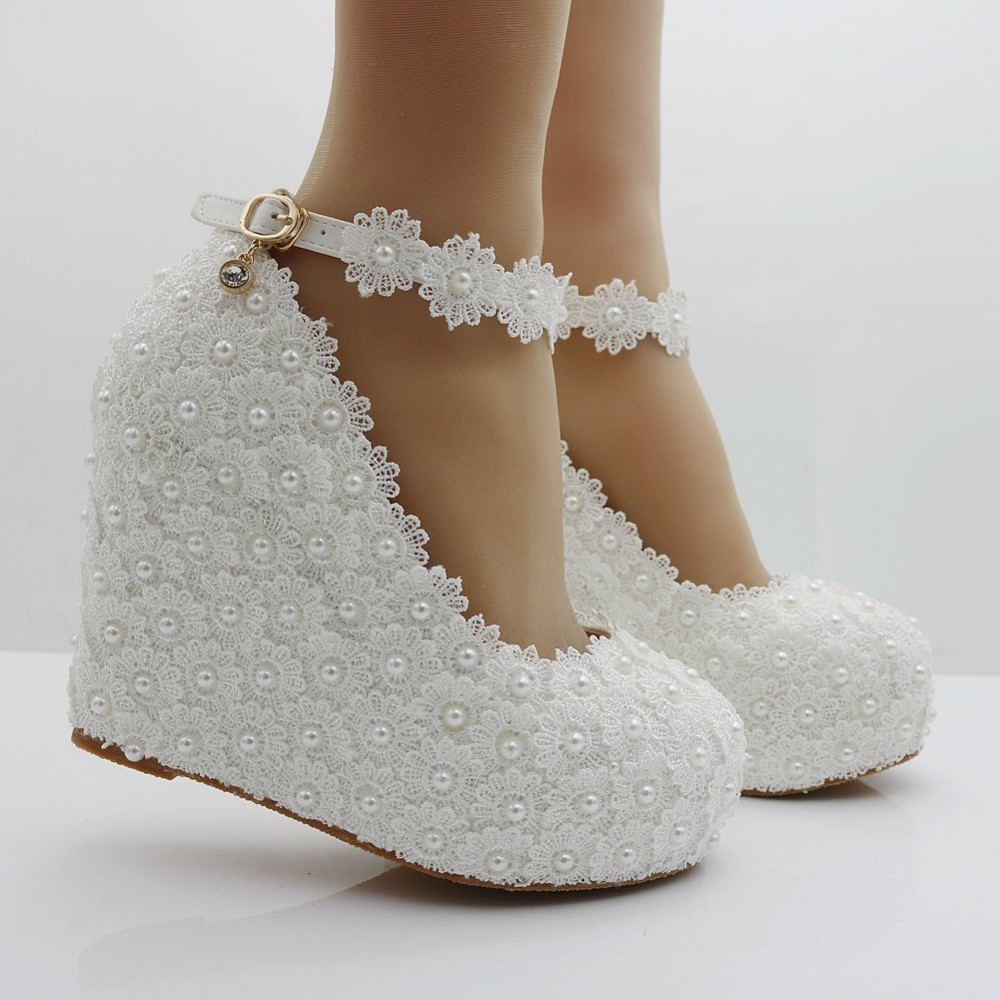Pearl and Lace wedding pumps floral lace platform wedge pump