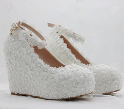 Pearl and Lace wedding pumps floral lace platform wedge pump image 2