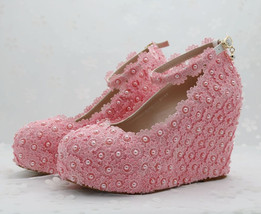 Pearl and Lace wedding pumps floral lace platform wedge pump image 4