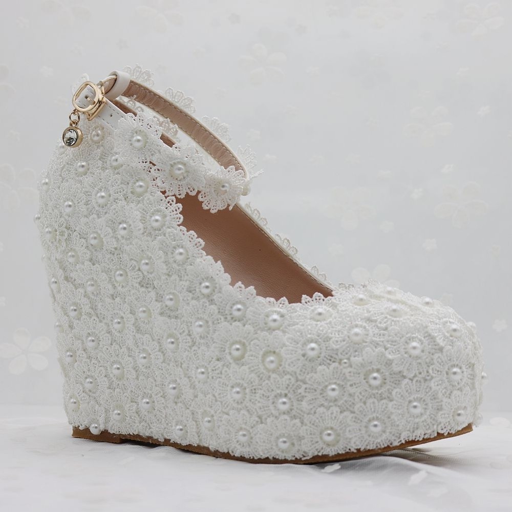 Pearl and Lace wedding pumps floral lace platform wedge pump image 5