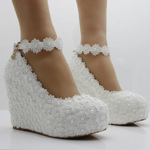 Pearl and Lace wedding pumps floral lace platform wedge pump image 6