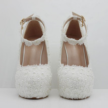 Pearl and Lace wedding pumps floral lace platform wedge pump image 8